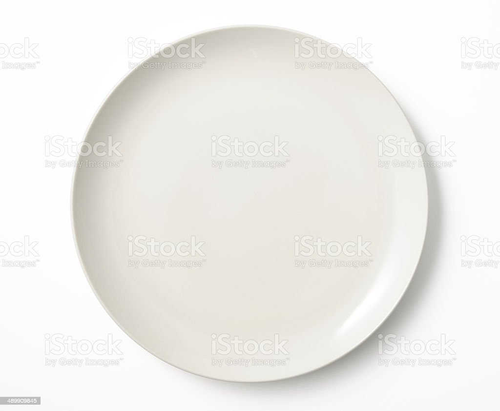 Isolated shot of empty white plate on white background stock photo