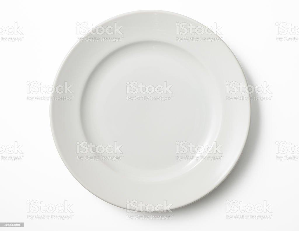 Isolated shot of empty white plate on white background stock photo