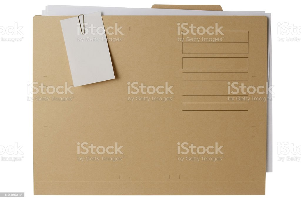 Isolated shot of file folder with documents on white background royalty-free stock photo