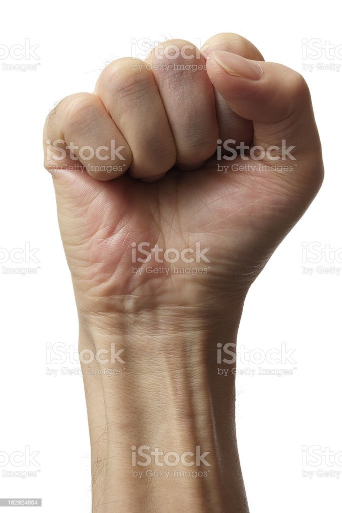 Isolated shot of fist against white background stock photo