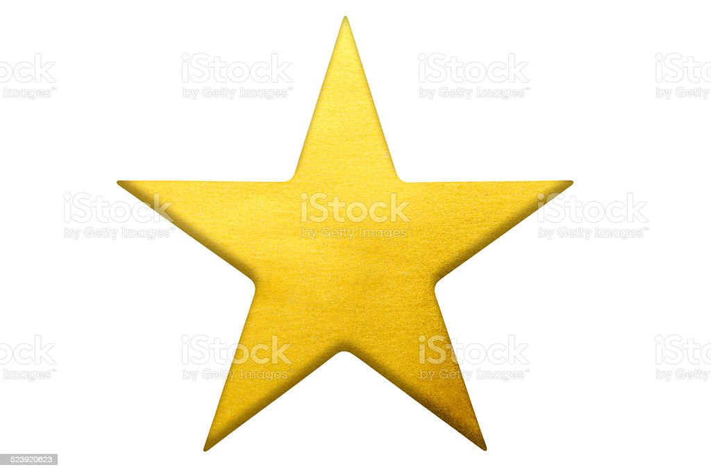 Isolated shot of gold star shape on white background stock photo