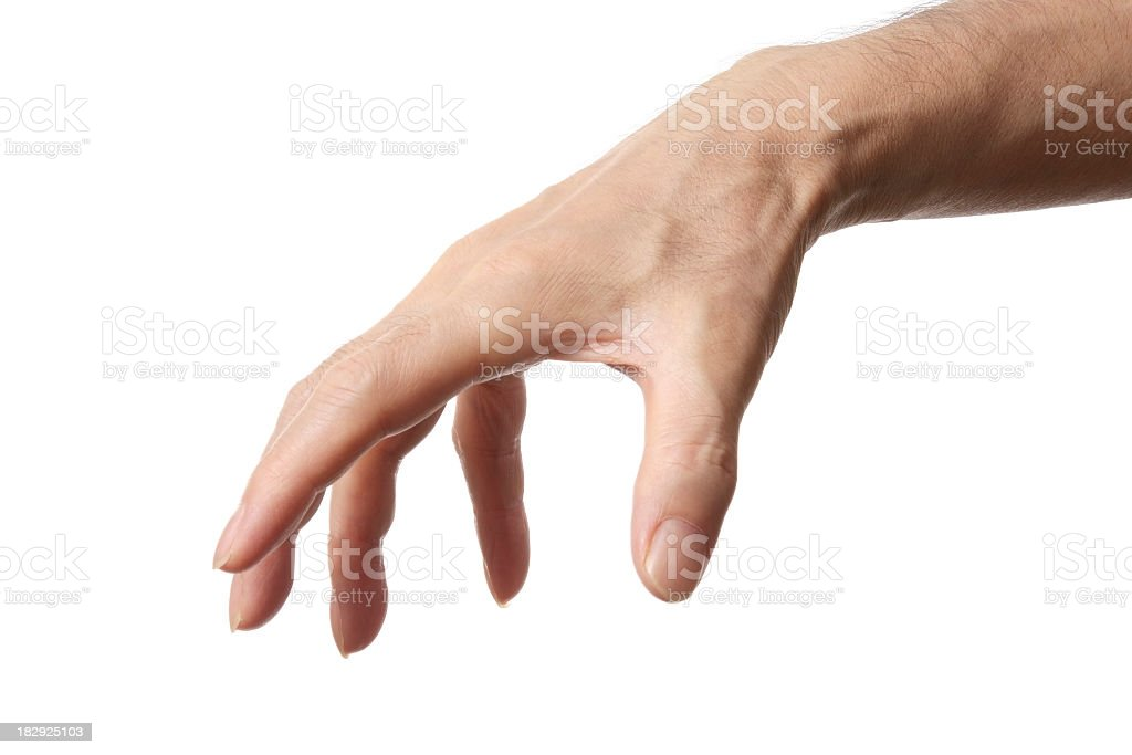 Isolated shot of grasp hand gesture against white background stock photo