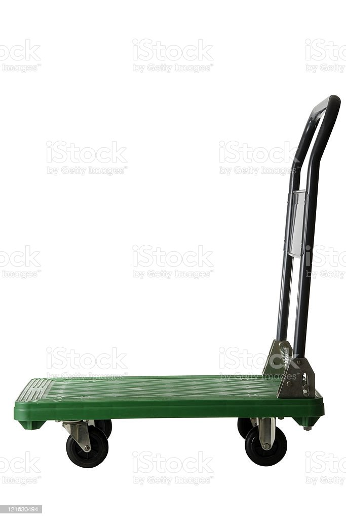Isolated shot of hand truck  on white background stock photo