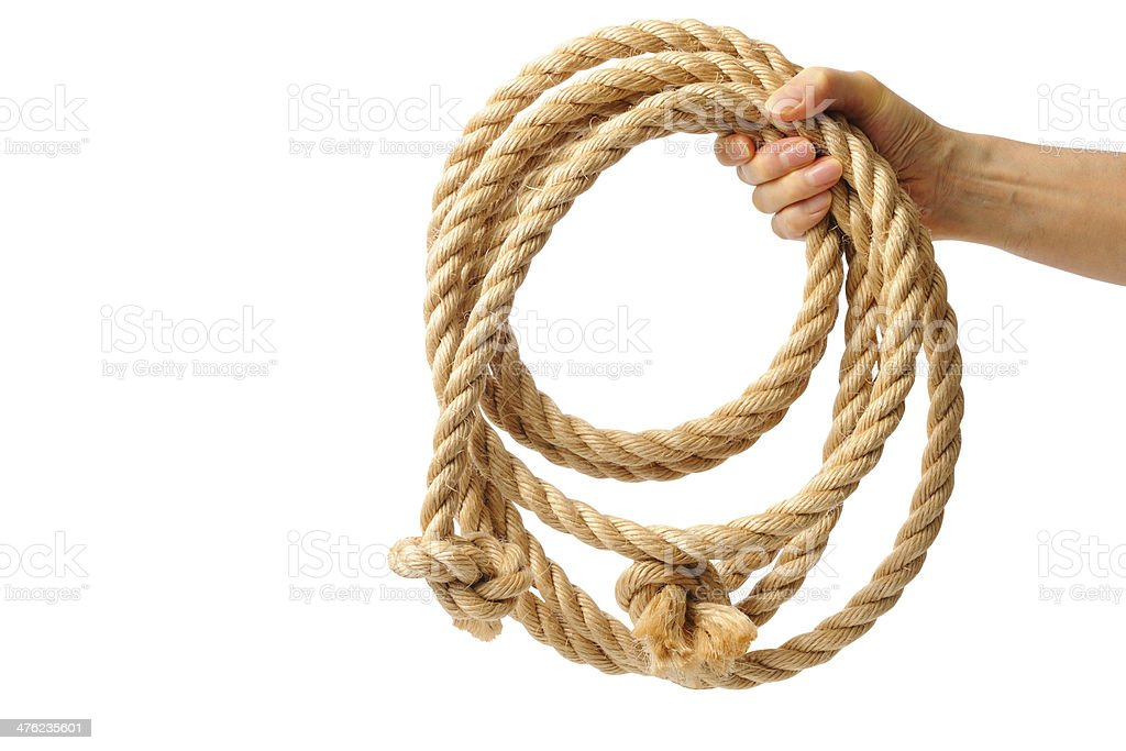 Isolated shot of holding a brown rope on white background royalty-free stock photo