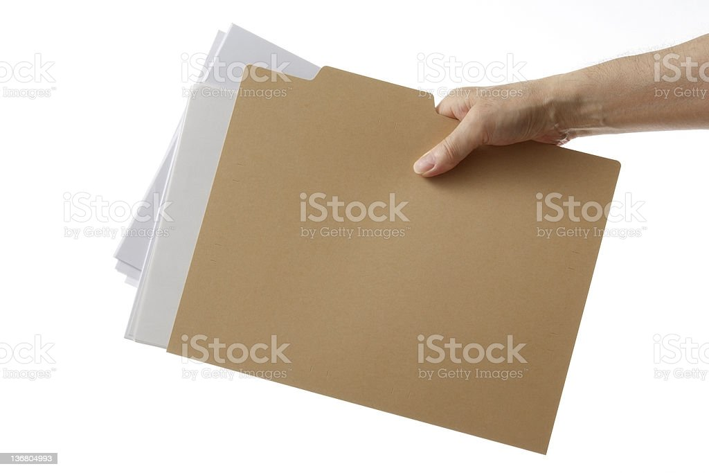 Isolated shot of holding a file folder against white background royalty-free stock photo