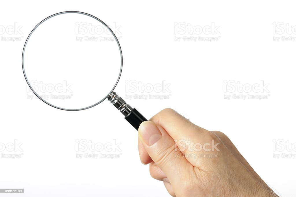 Isolated shot of holding a magnifying glass on white background stock photo