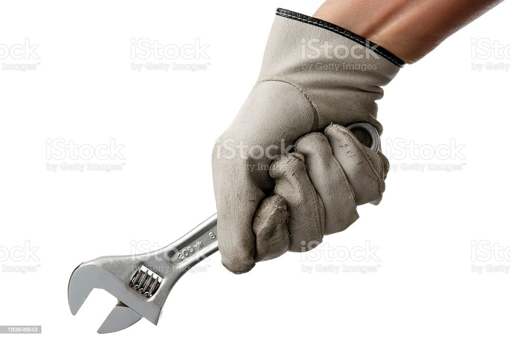 Isolated shot of holding a wrench on white background stock photo