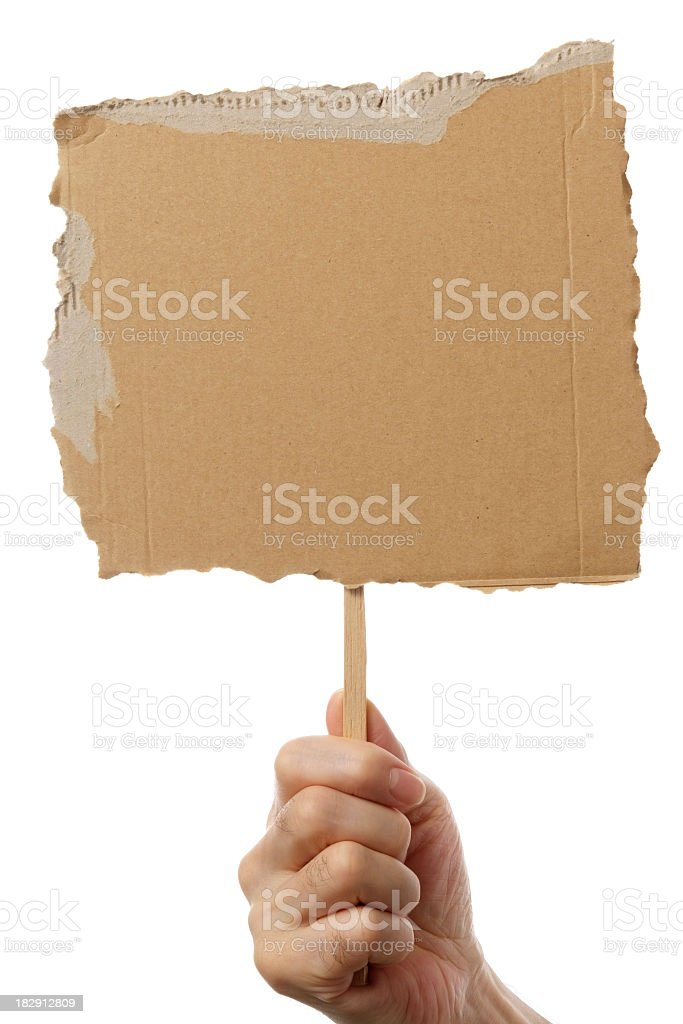 Isolated shot of holding blank cardboard placard on white background royalty-free stock photo