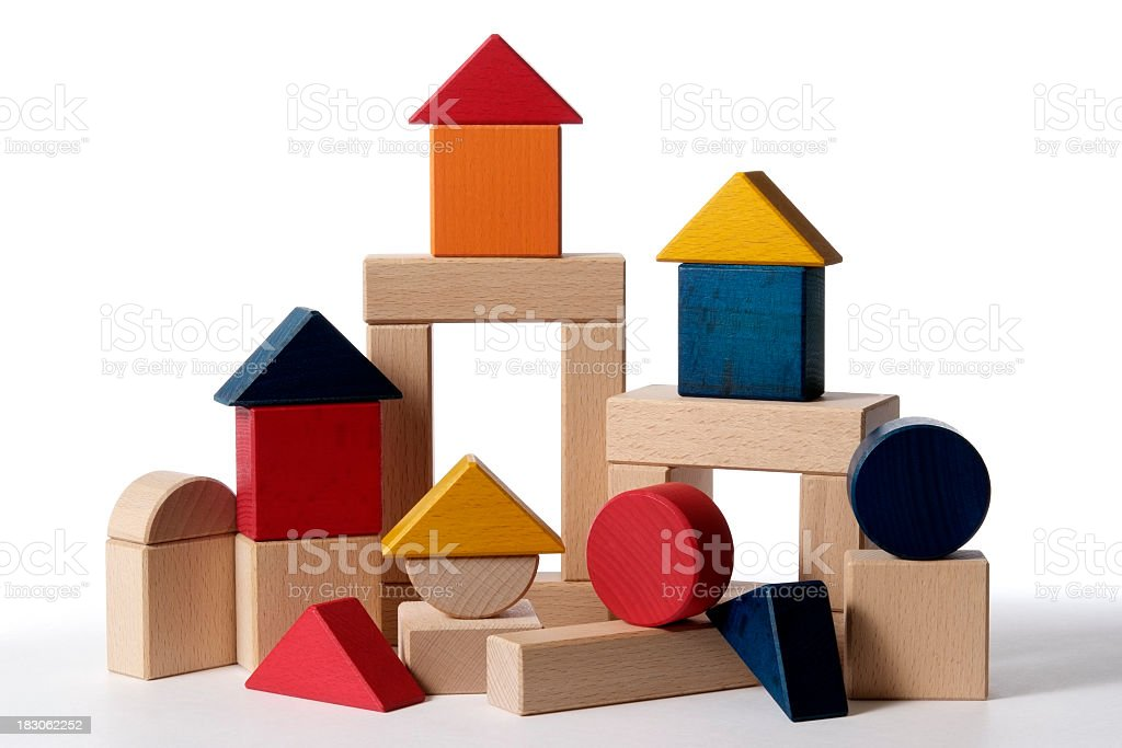 Isolated shot of home building wood blocks on white background stock photo