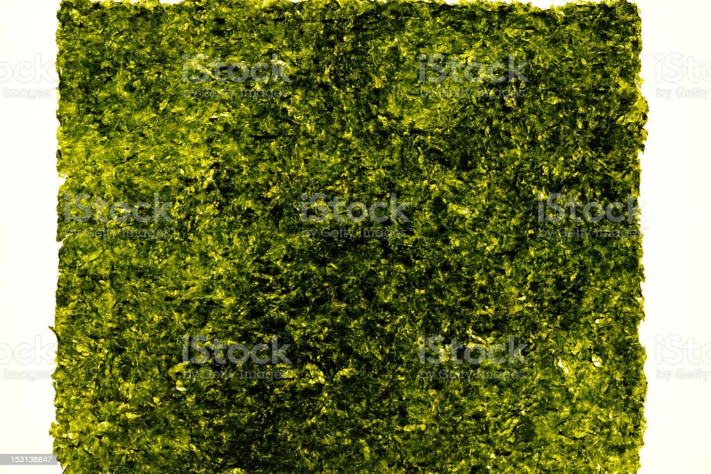 Isolated shot of laver(Nori) on white background royalty-free stock photo