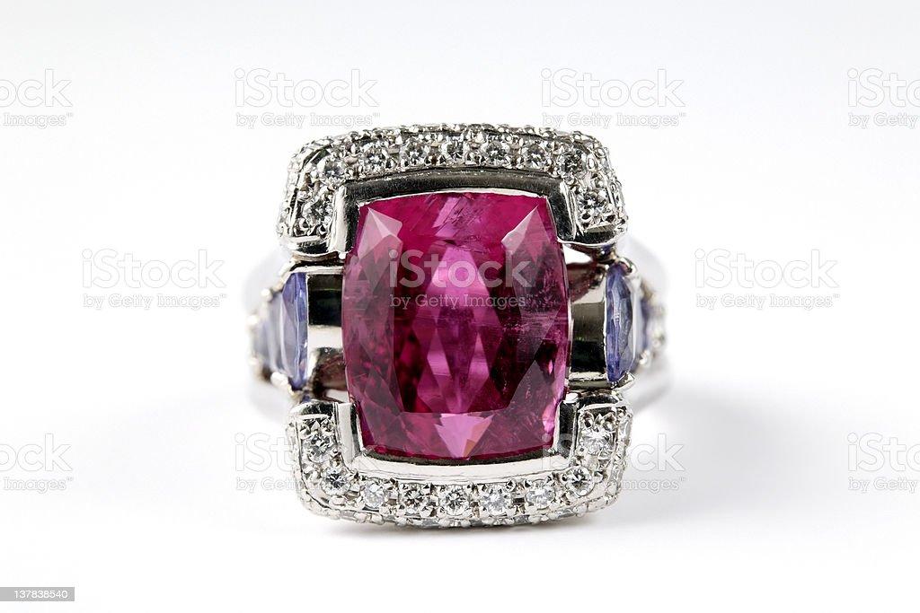 Isolated shot of luxury ruby diamond ring on white background stock photo