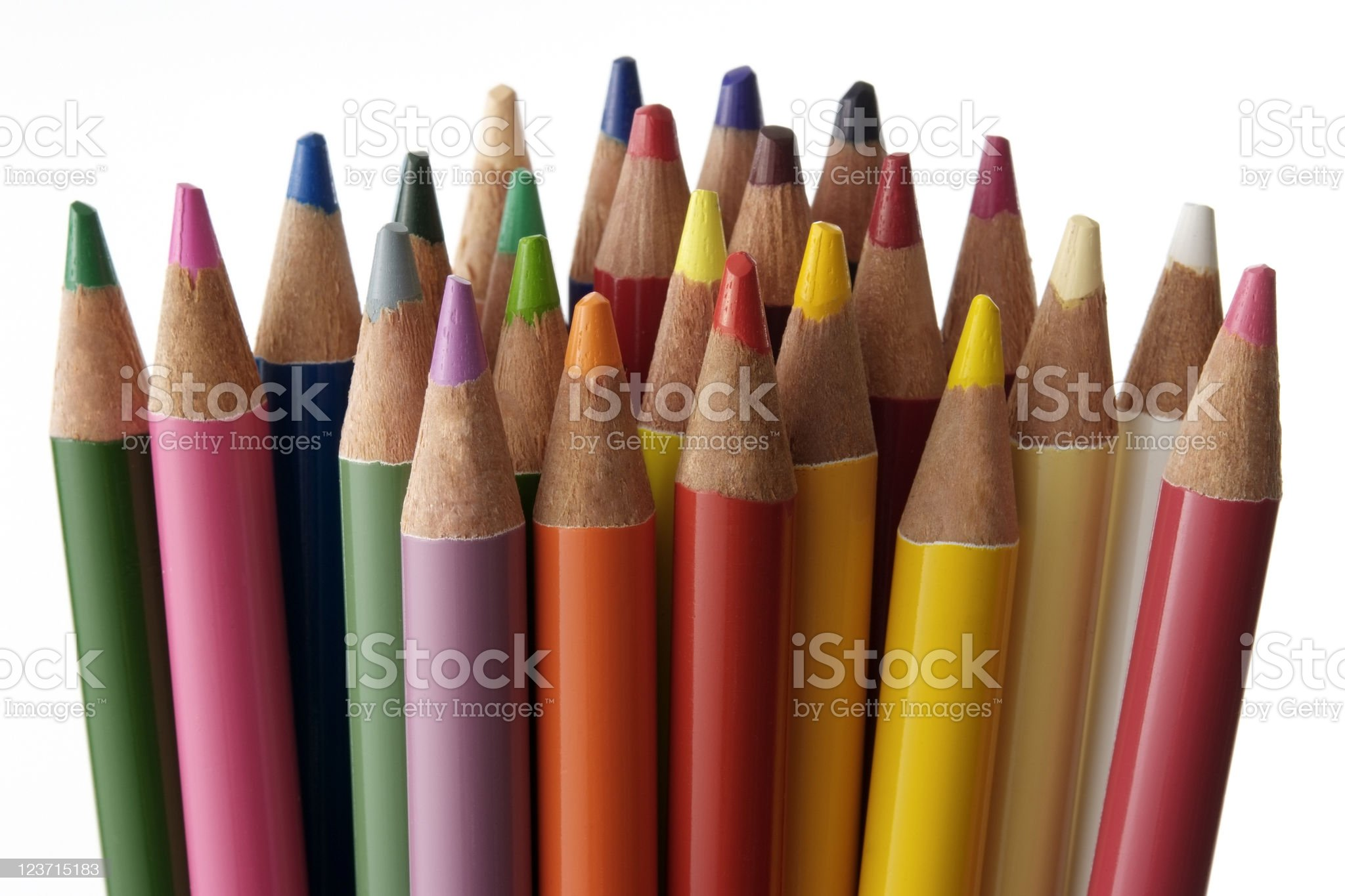 Isolated shot of many color pencils on white background royalty-free stock photo