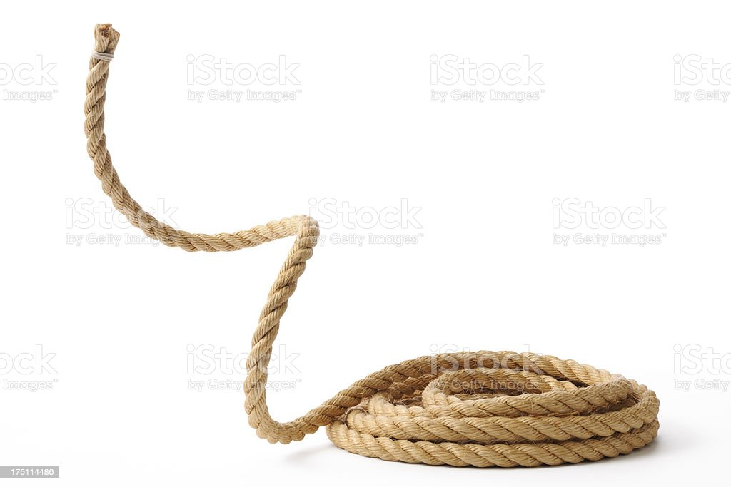 Isolated shot of moving up a rope on white background royalty-free stock photo