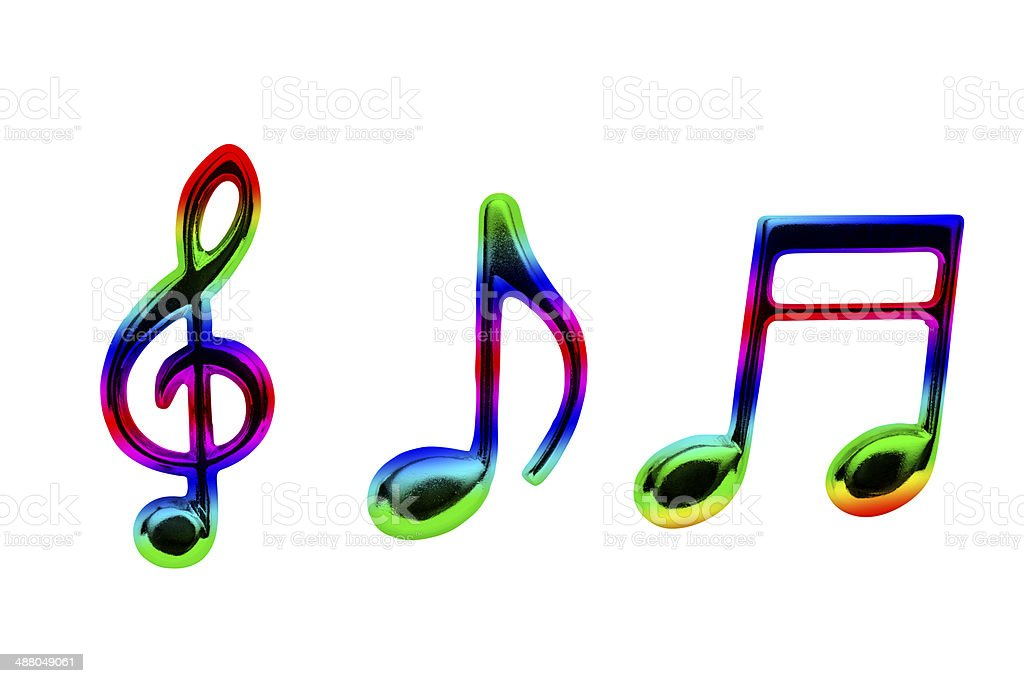 Isolated shot of multi colored musical note on white background stock photo