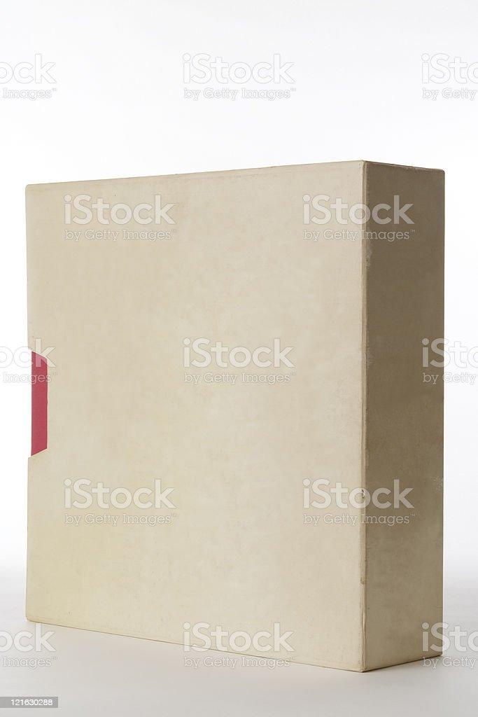 Isolated shot of old white blank box on white background royalty-free stock photo