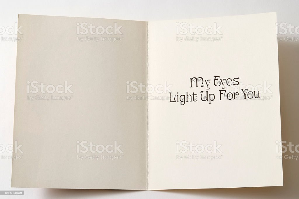 Isolated shot of opened antique greeting card on white background royalty-free stock photo