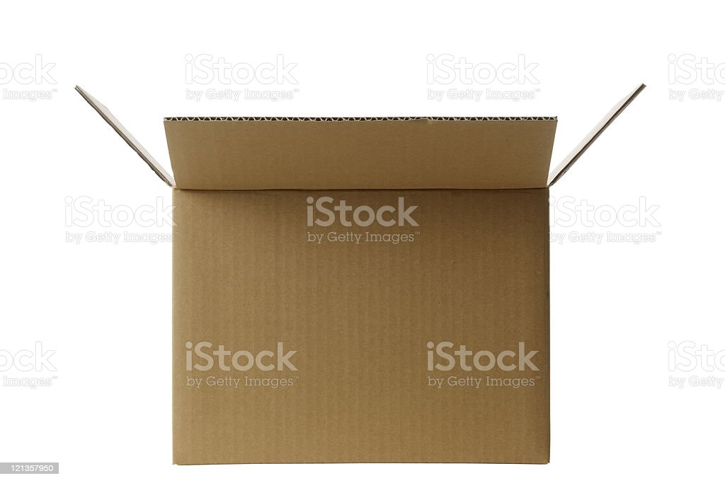 Isolated shot of opened blank cardboard box on white background royalty-free stock photo