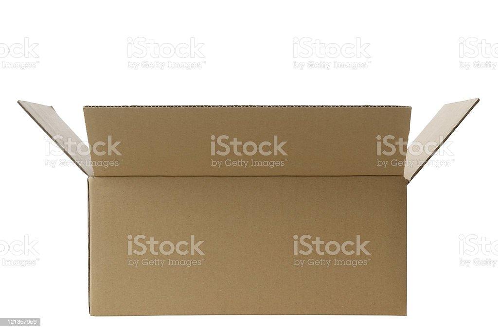 Isolated shot of opened blank cardboard box on white background royalty-free stock photo
