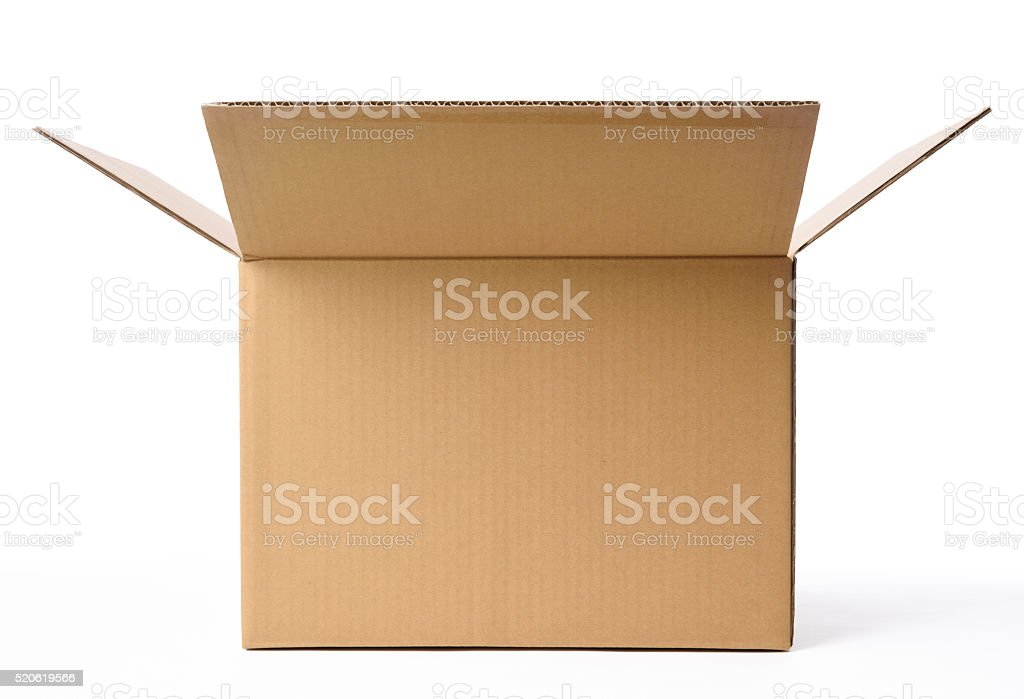 Isolated shot of opened blank cardboard box on white background stock photo