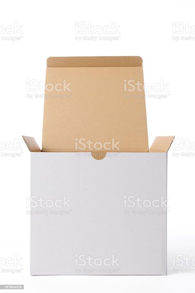Isolated shot of opened blank cube box on white background royalty-free stock photo