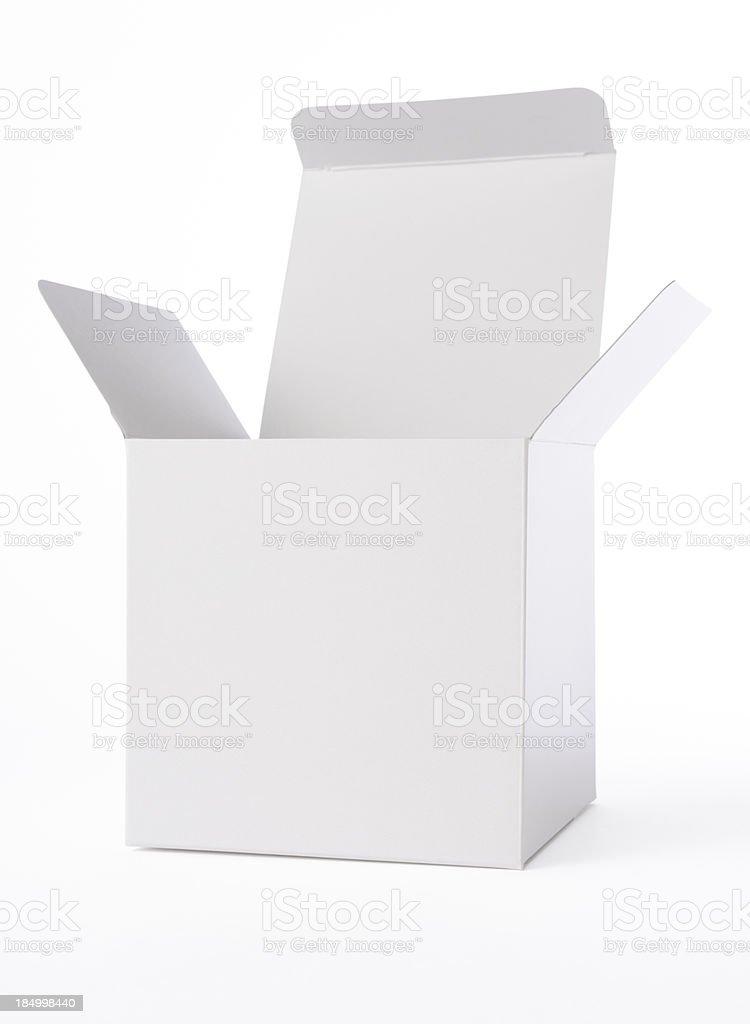 Isolated shot of opened blank cube box on white background stock photo