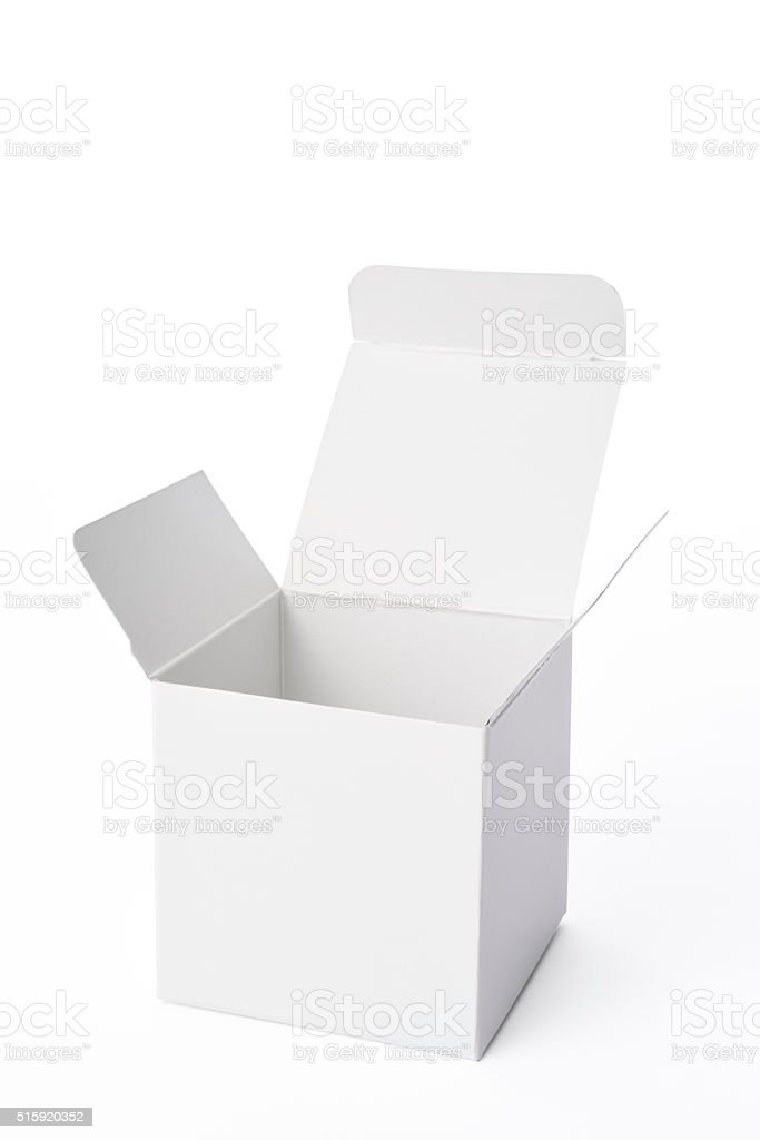 Isolated shot of opened blank cube box on white background stock photo
