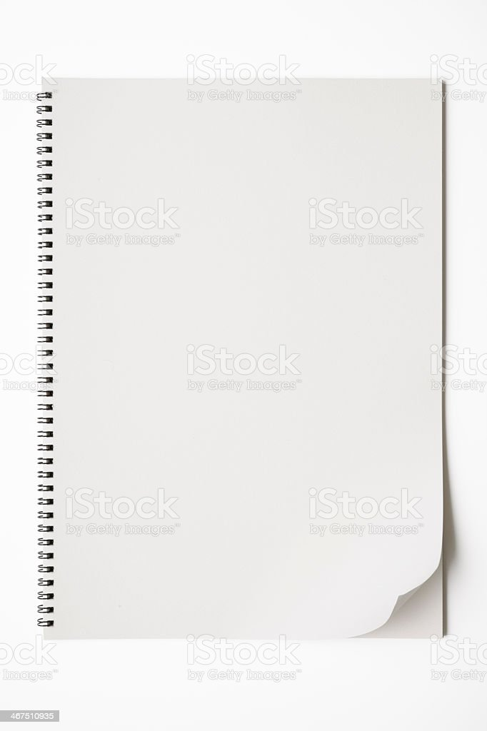 Isolated shot of opened blank sketchbook on white background stock photo