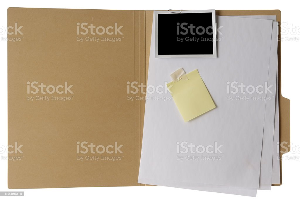 Isolated shot of opened brown file folder on white background stock photo