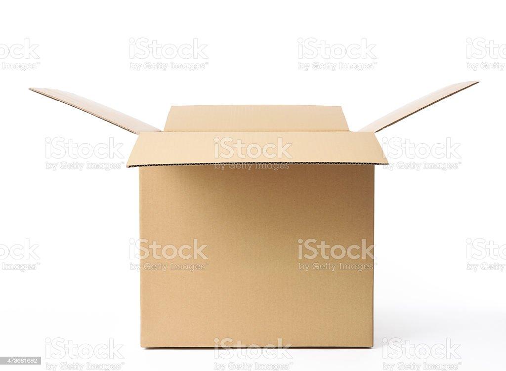 Isolated shot of opened cube cardboard box on white background stock photo
