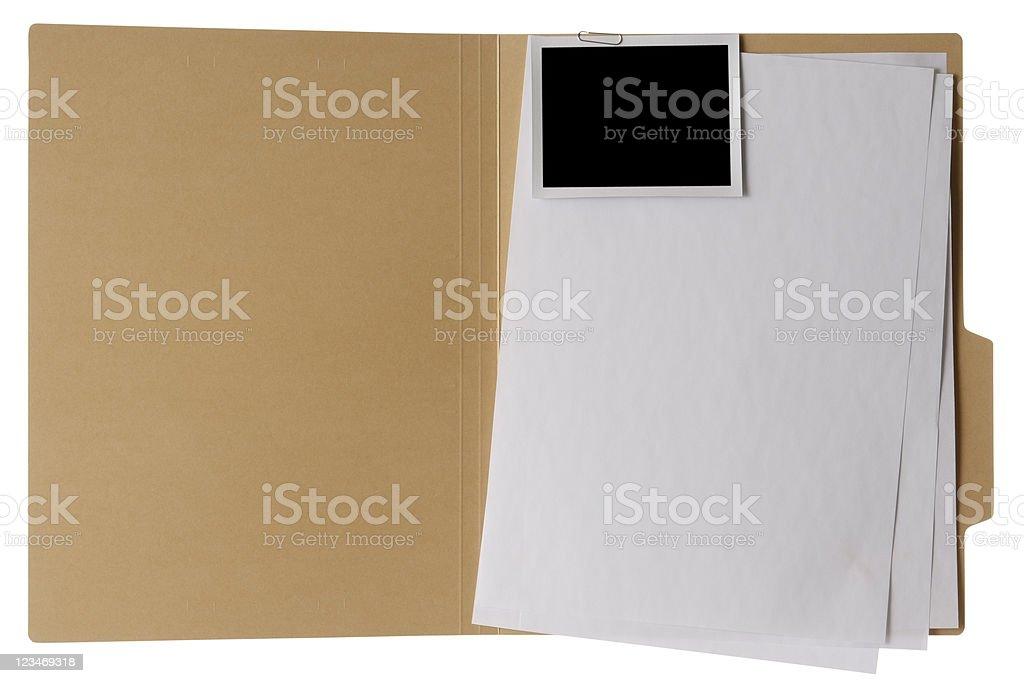 Isolated shot of opened file folder on white background royalty-free stock photo