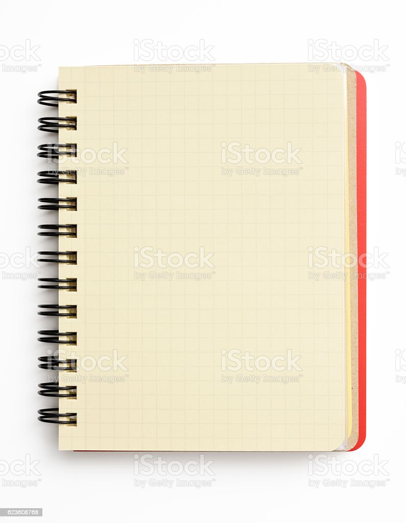 Isolated shot of opened red spiral notebook on white background stock photo