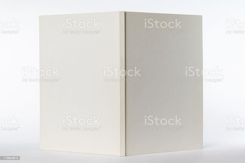Isolated shot of opened white blank book on white background stock photo