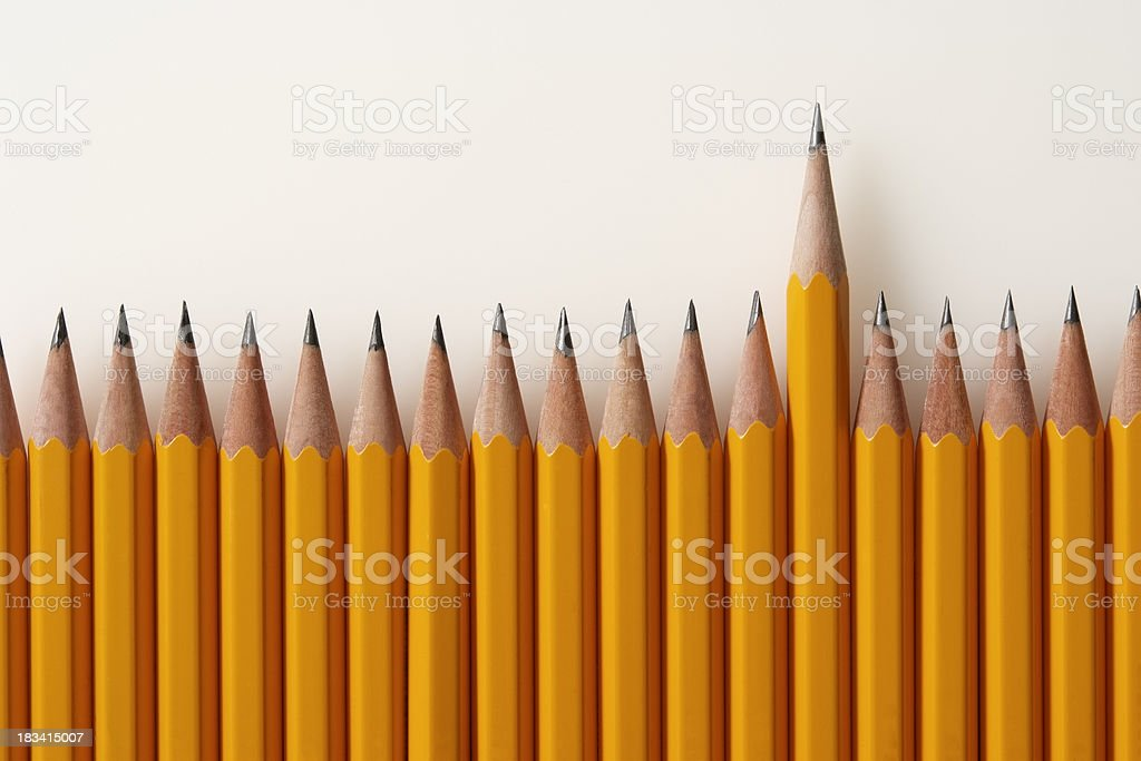 Isolated shot of outstanding pencil on white background stock photo
