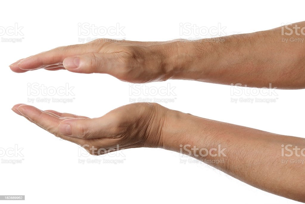 Isolated shot of palms hands sign against white background stock photo