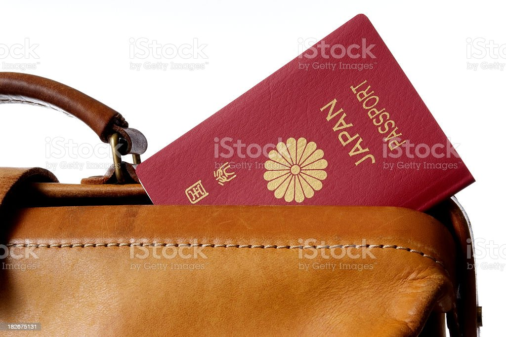 Isolated shot of Passport and leather bag against white background royalty-free stock photo