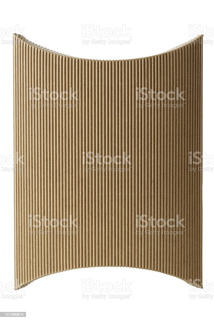 Isolated shot of pillow shape cardboard box on white background royalty-free stock photo