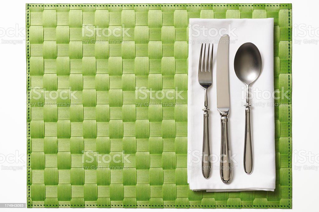 Isolated shot of place setting on white background royalty-free stock photo