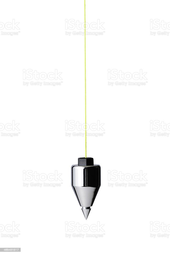 Isolated shot of Plumb Bob against white background stock photo