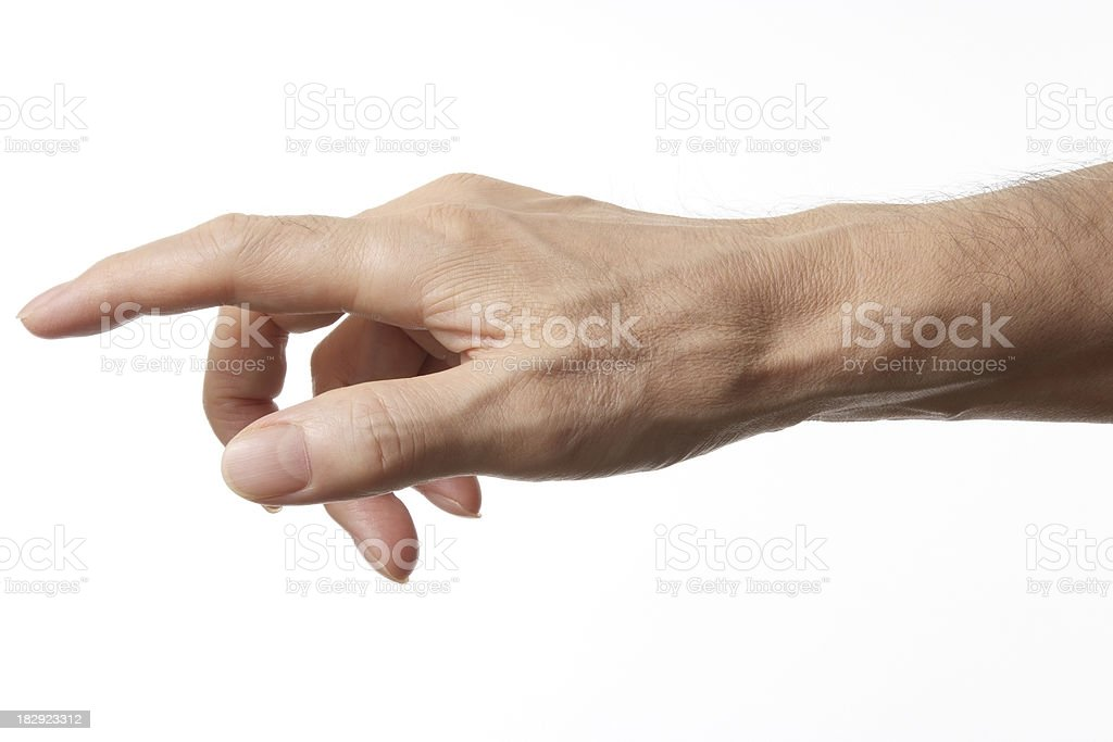 Isolated shot of pointing against white background stock photo