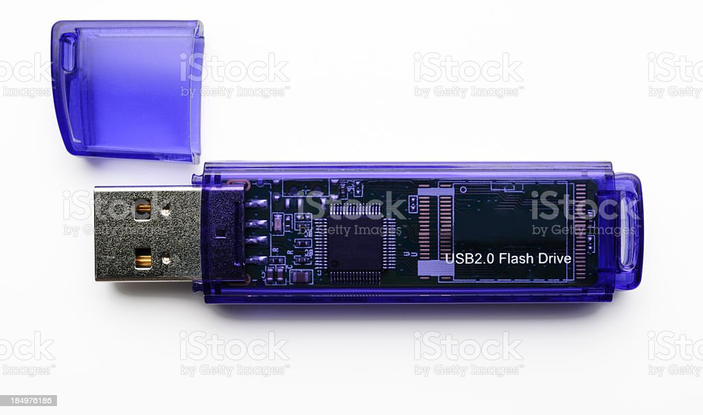 Isolated shot of purple USB Flash Drive on white backgroundUSB Flash Drive royalty-free stock photo
