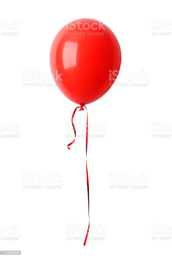 Isolated shot of red balloon with ribbon against white background stock photo