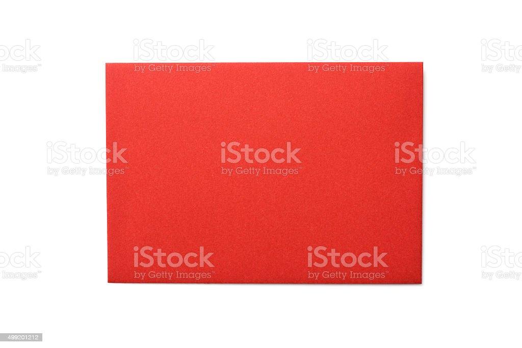 Isolated shot of red envelope on white background stock photo