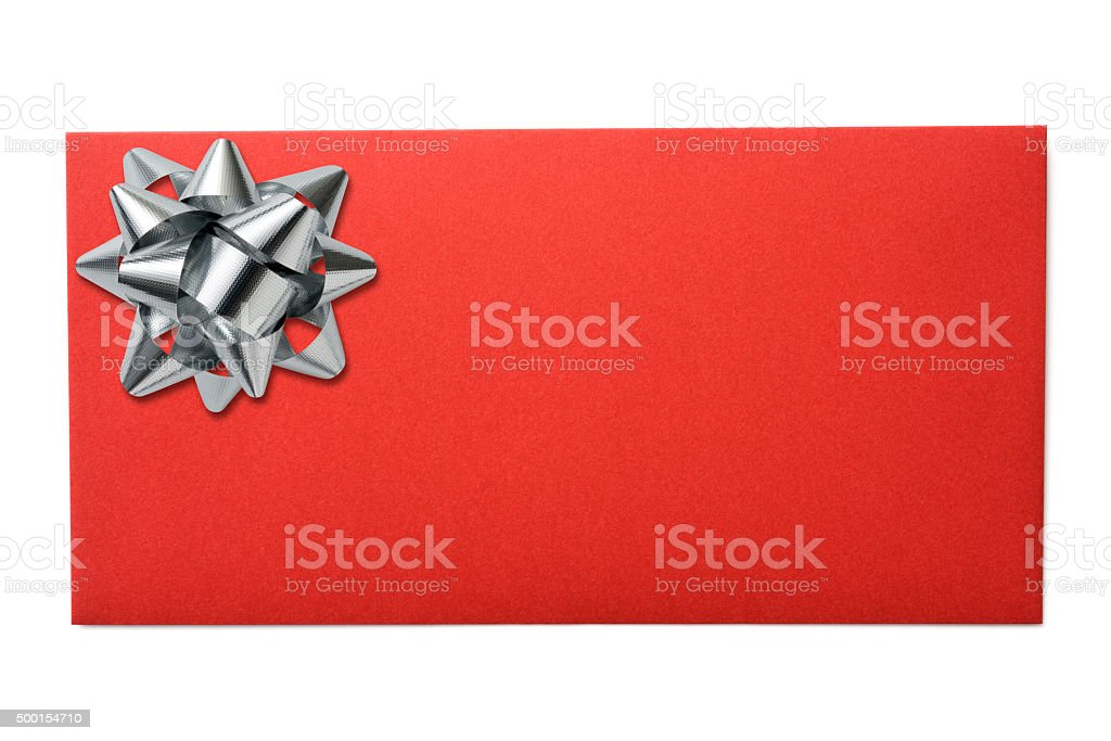 Isolated shot of red envelope with ribbon on white background stock photo