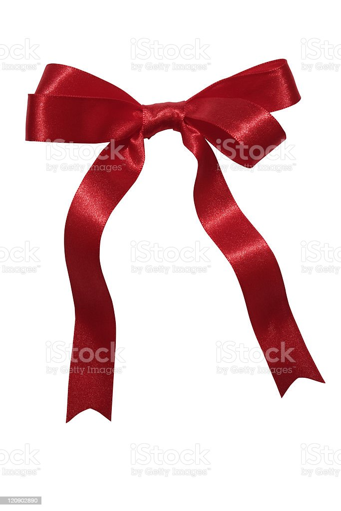 Isolated shot of red ribbon on white background royalty-free stock photo