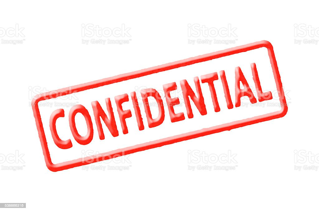 """Isolated shot of red text """"CONFIDENTIAL"""" stamp on white background stock photo"""