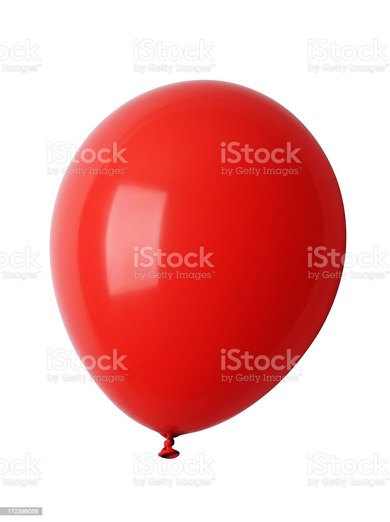 Isolated shot of shiny red balloon against white background royalty-free stock photo