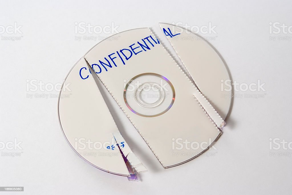 Isolated shot of shredded confidential CD on white background stock photo