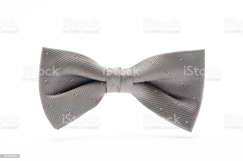 Isolated shot of silver bow tie on white background stock photo