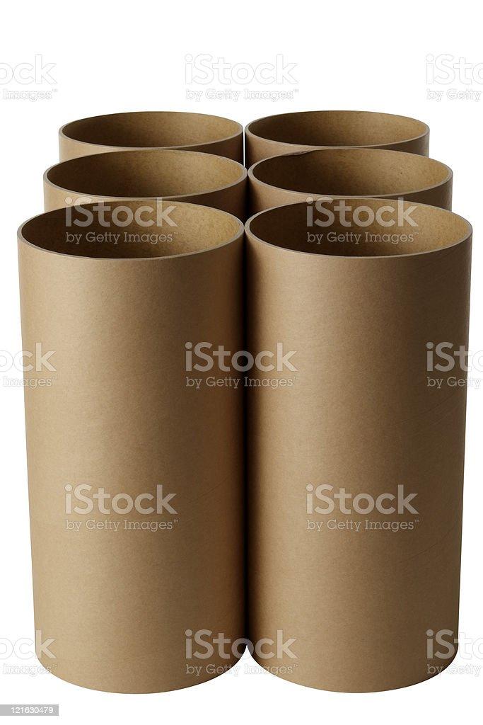 Isolated shot of six cardboard cylinder on white background royalty-free stock photo