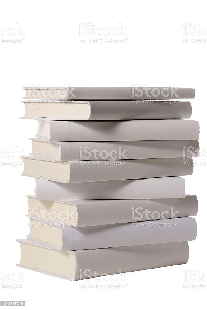 Isolated shot of stacked blank books on white background royalty-free stock photo